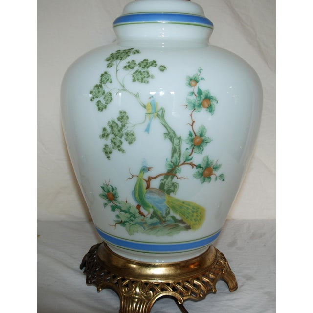 Vintage Asian Style Green Blue Peacock Ginger Jar Table Lamp For Sale - Image 4 of 8