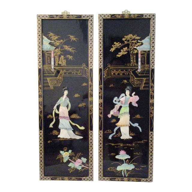 Mid-Century Japanese Mother-Of-Pearl Panels - A Pair For Sale