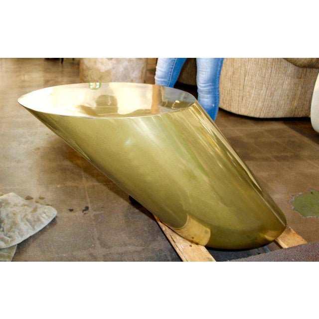 Modern Contemporary Brass Coated Slanted Angle Cylinder Side Table For Sale - Image 3 of 9