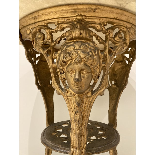 """Traditional English Iron Pub Table with Italian Marble Top. Top is not attached, measures 24"""" in diameter and 1/2"""" thick...."""