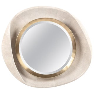 Petal Mirror in Cream Shagreen and Bronze-Patina Brass by R&y Augousti For Sale
