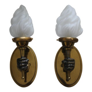 Hollywood Regency Maison Bagues Rare Bronze Opposing Fist Torch Sconces - a Pair For Sale