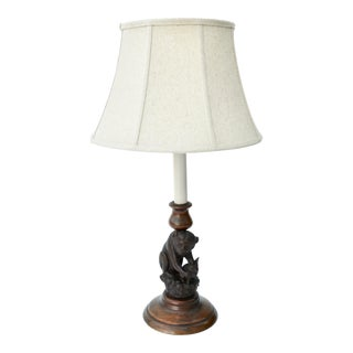 Antique Hand-Carved Wood Monkey and Bunny Lamp For Sale