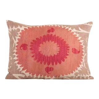 Vintage Cotton Embroidered Gulkurpa Lumbar Pillow - Cover Only. For Sale