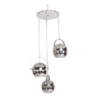 Midcentury Modern 1960s Torino Chrome Pendant by Lightolier Dangling Spheres For Sale
