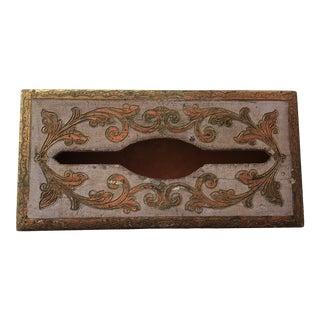 Vintage Florentia Gold-Gilded Tissue Box Cover For Sale