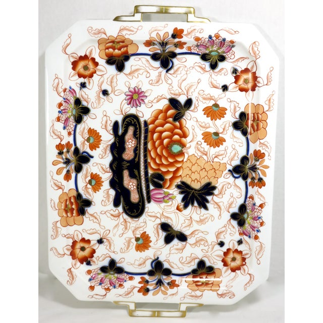 Antique Bone China Imari Style Serving Tray For Sale - Image 4 of 13