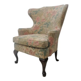 Queen Ann Style Wing Chair For Sale