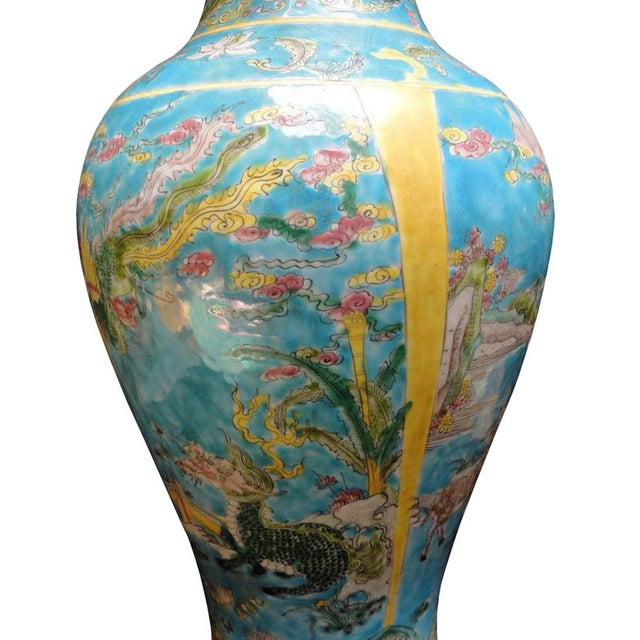 Chinese Porcelain Blue Base Animals Decor Vase For Sale - Image 4 of 6