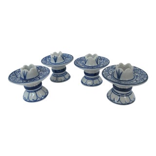 Blue & White Chinoiserie Taper Candle Holders - Set of 4 For Sale