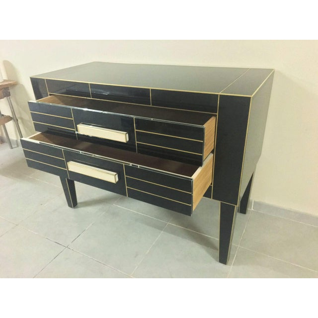 2010s Chest of Drawers in Black Mirror With Ivory Glass Handle For Sale - Image 5 of 9