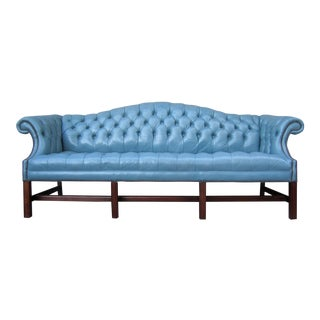 1970s Vintage Blue Leather Tufted Camel Back Chesterfield Chippendale Sofa For Sale