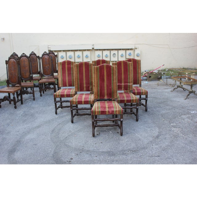 Monumental Set Of Louis XIII Style Solid Walnut Os De Mouton Dining Chairs - Set of 6 - Image 3 of 11