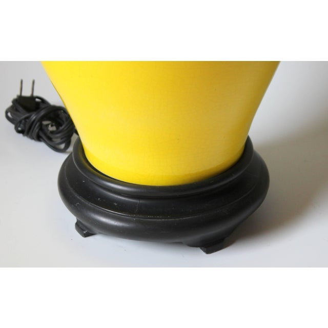 Black Alvino Bagni Atomic Chrome Crackle Yellow Italian Pottery Raymor Gourd Lamp For Sale - Image 8 of 11