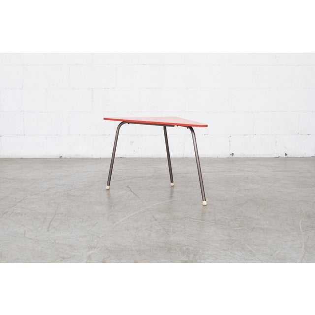 Retro Red Triangle Side Table - Image 2 of 11