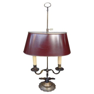 19th Century French Neoclassical Style Bronze Bouillotte Lamp & Tole Shade For Sale