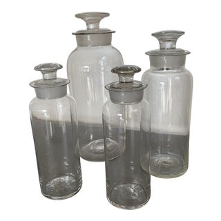 Vintage Clear Glass Apothecary Bottles - Set of 4 For Sale