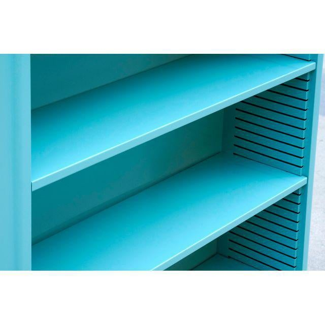 1960s Steel Tanker Style Bookcase in Turquoise, Custom Refinished For Sale - Image 4 of 5