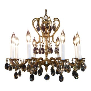 Vintage French Stately 8 Arm 8 Lite Brass Bronze Cut Lead Crystal Chandelier For Sale