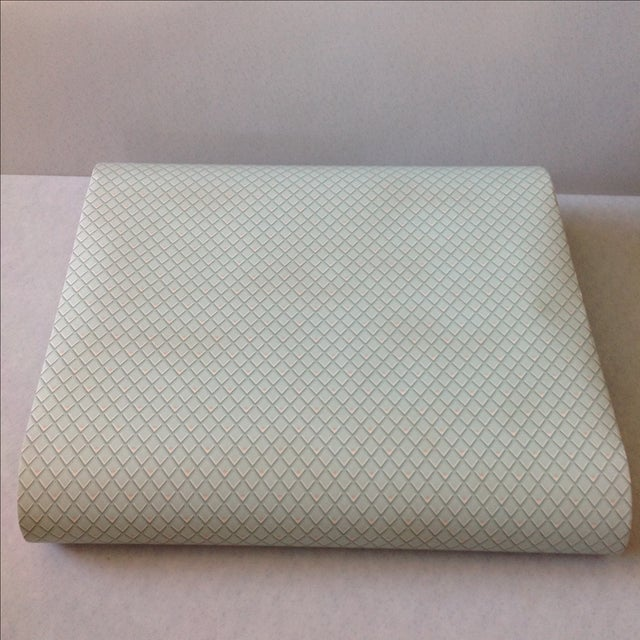 Offered is 2 bolts (4 rolls) of petite diamond pattern in tones of minty green with accents of white and pink. Strippable...