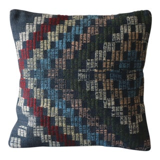 Vintage Kilim Boho Chic Wool Pillow Cover For Sale