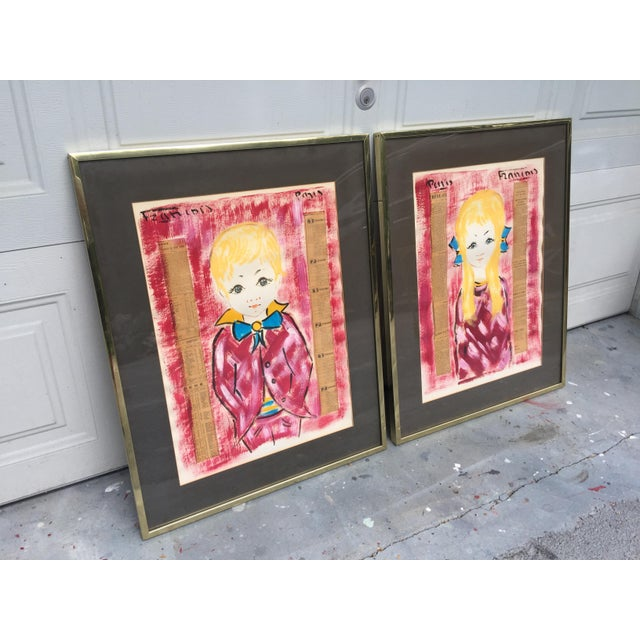 This is a pair of beautiful paintings signed by artist François Paris. The boy and girl paintings create an amazing set...