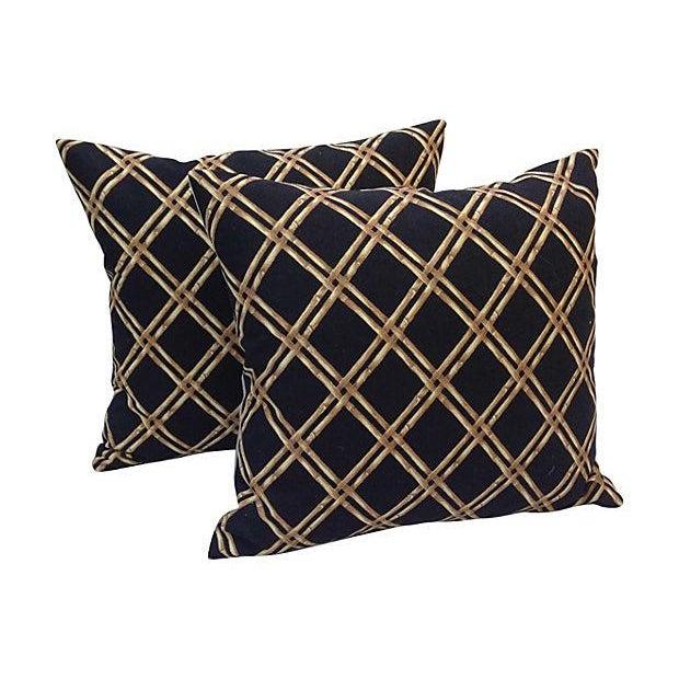 Black & Tan Bamboo Lattice Pillows - A Pair - Image 5 of 5