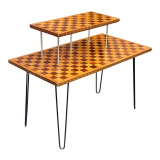 Mid Century Checkerboard Tiered Accent Table For Sale