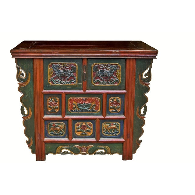 19th Century Tibetan Hand Carved Chest For Sale - Image 11 of 11
