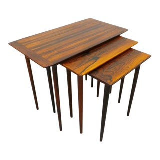 1960s Danish Modern Rosewood Nesting Tables - Set of 3 For Sale