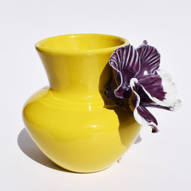 Yellow and Purple Abstract Ceramic Vase with Affixed Floral Orchid For Sale - Image 4 of 7
