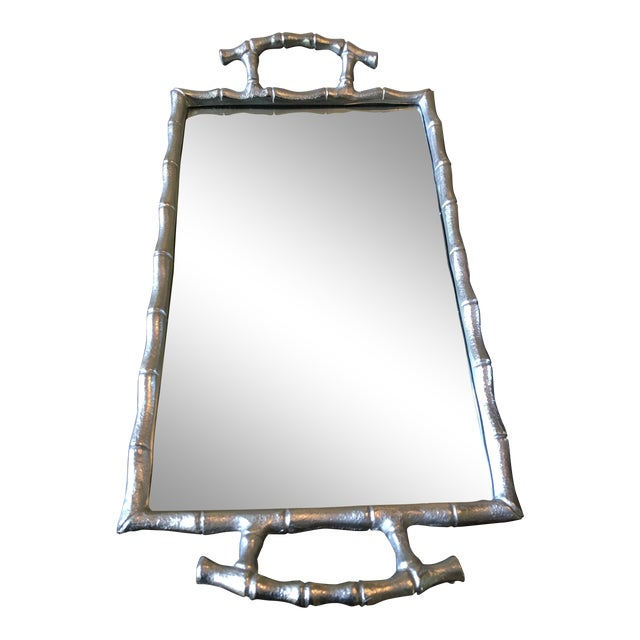 Asian Modern Silver Bamboo Mirrored Tray With Handles For Sale