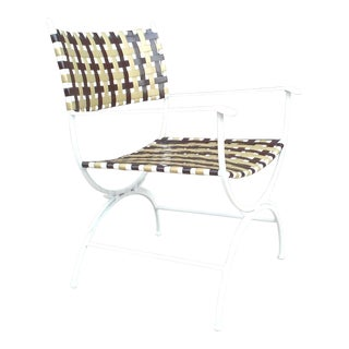 A Single Mid Century Campaign Patio Chair For Sale