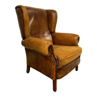 Distressed Leather Wingback Library Chair For Sale