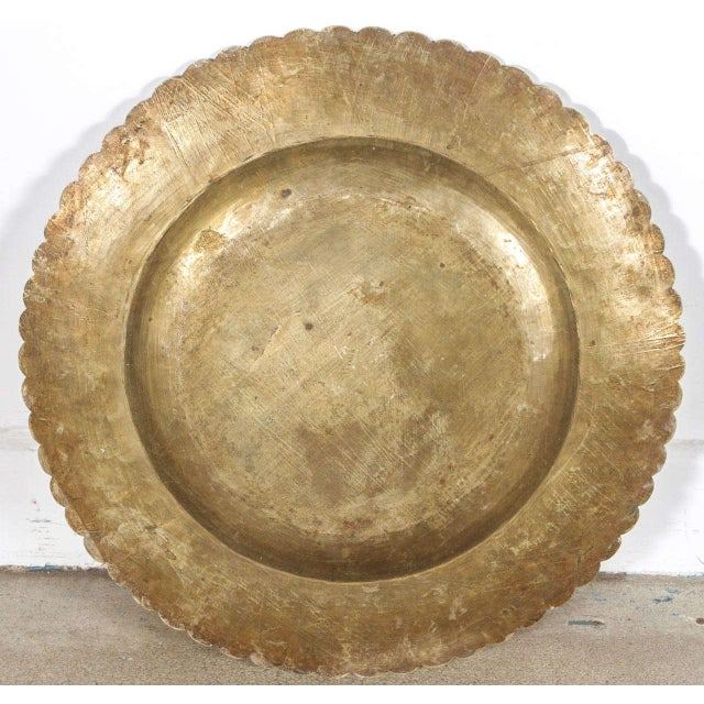 Gold Chinese Hand-Carved Brass Tray on Folding Wooden Base For Sale - Image 8 of 10