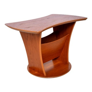 1980s Sculptural Teak Side Table & Magazine Holder For Sale