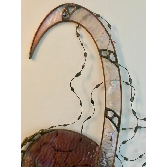 Abstract Vintage Stained Glass Sculpture Abstract Wall Art Biomorphic Large For Sale - Image 3 of 9