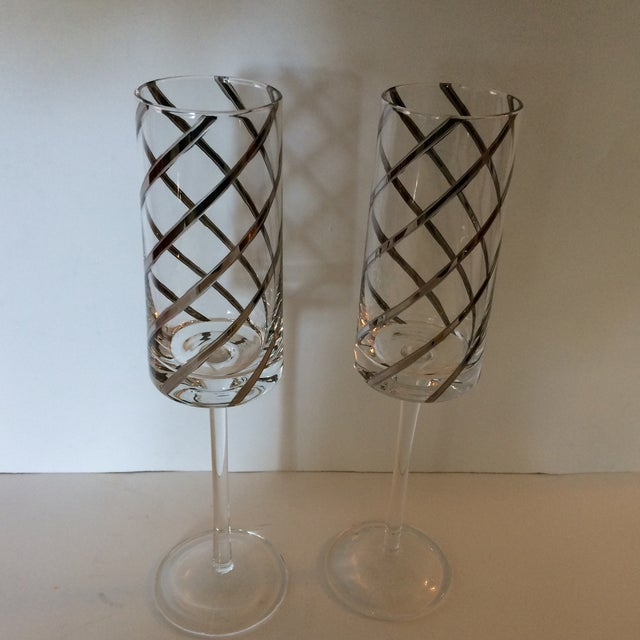 Vintage Crystal Platinum Swirl Toasting Glasses - A Pair For Sale - Image 11 of 11