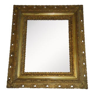 19th Century Antique Rococo Style Gilt and Gesso Wood Frame Wall Mirror For Sale