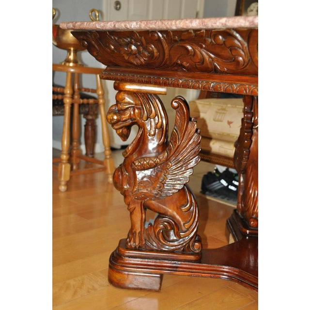 Vintage Renaissance Style Wood Carved Winged Griffin Table and Pink Granite Top For Sale - Image 9 of 13