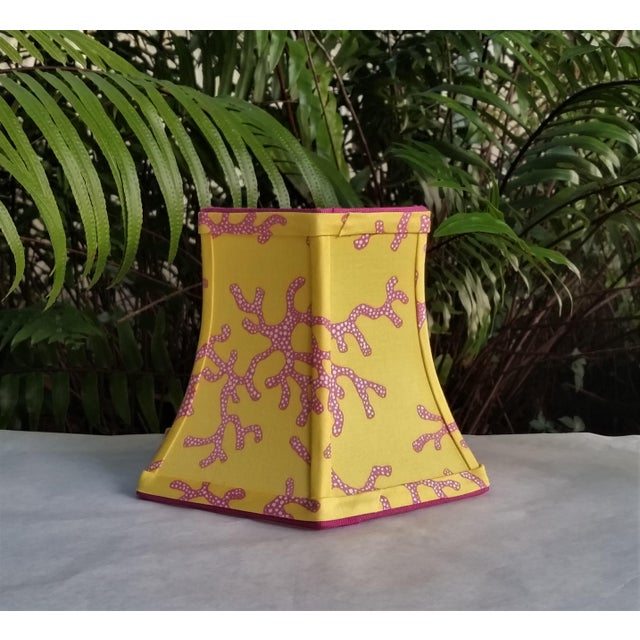 Lilly Pulitzer Fabric Lampshade Yellow Pink Coral Clip On For Sale In West Palm - Image 6 of 11