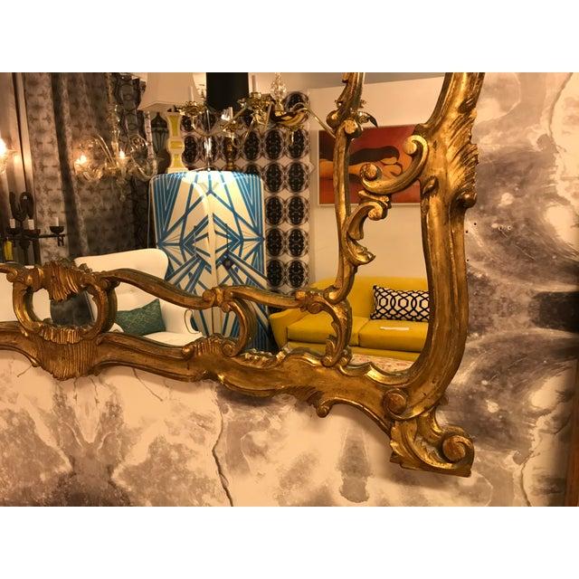 Art Nouveau Antique Hand-Carved Gold-Guild Mirror For Sale - Image 3 of 8