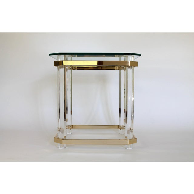 Mid 20th Century Lucite & Brass Side Table For Sale - Image 5 of 11