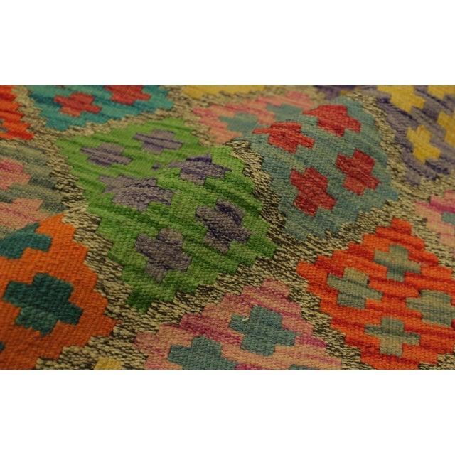 Abstract Margheri Brown/Rust Hand-Woven Kilim Wool Rug -6'3 X 7'11 For Sale - Image 4 of 8