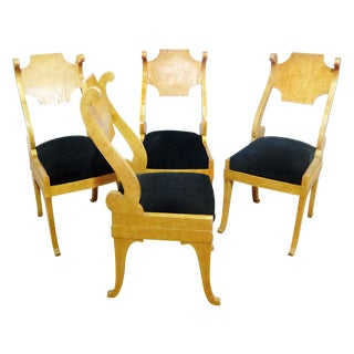 Biedermeier Style Dining / Side Chairs - Set of 4 For Sale