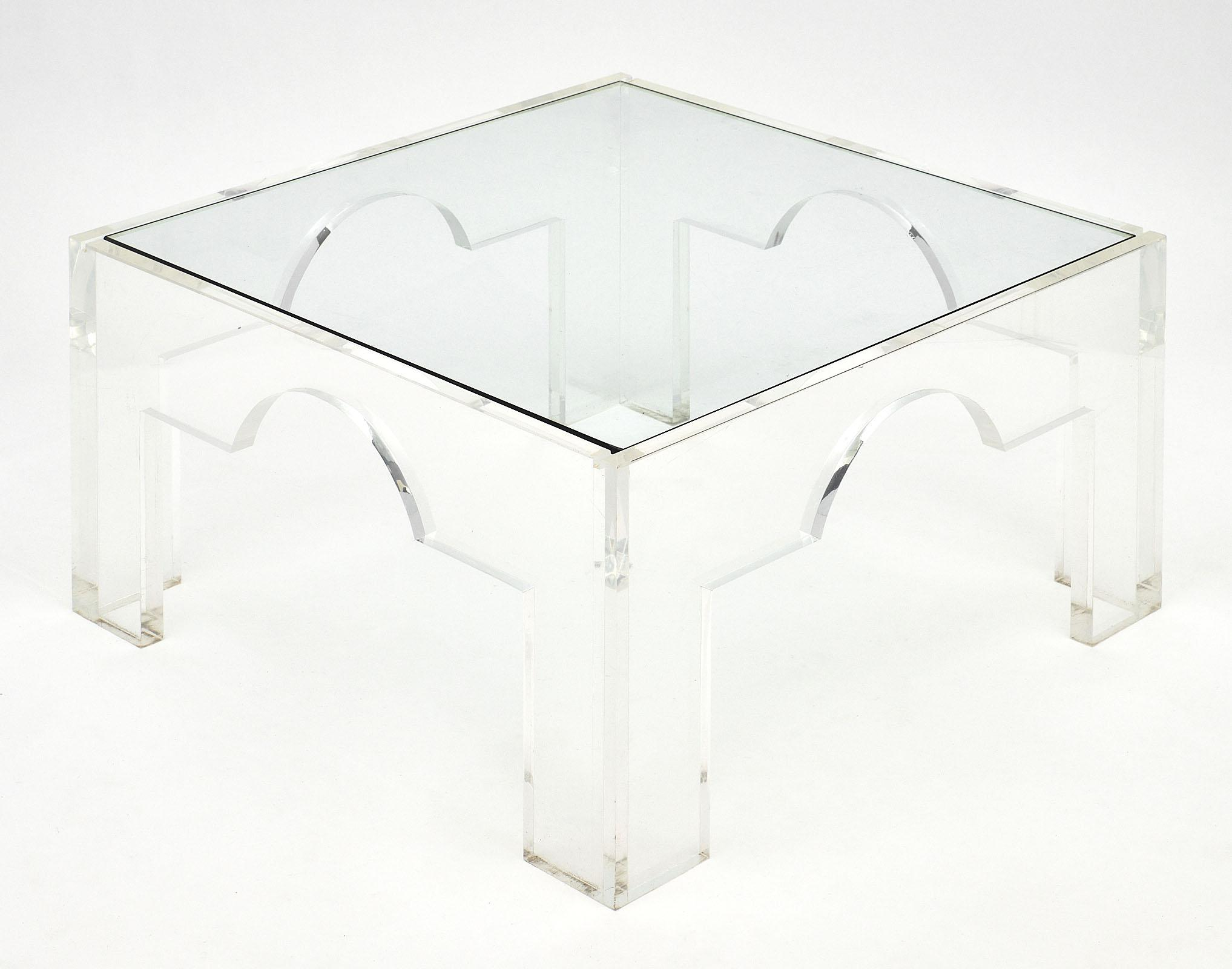 Distinguished French Lucite And Glass Coffee Tables Decaso