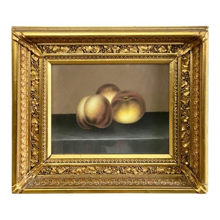 Mid 19th Century Still Life of Peaches Pastel Drawing, Framed For Sale