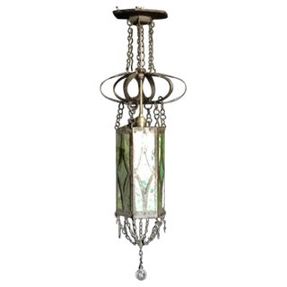 Iron and Glass Gothic Pendant Light For Sale