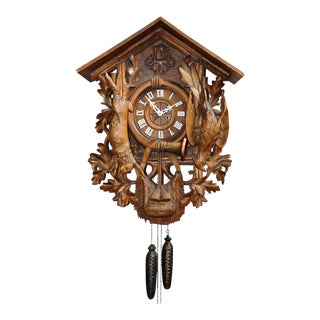 Antique Black Forest Carved Wood Cuckoo Clock With Hunting Trophies For Sale