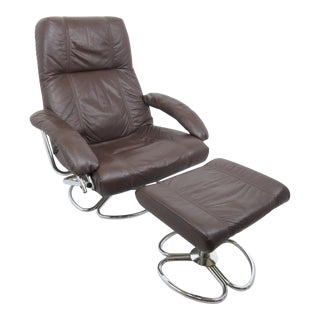 1970s Danish Kebe Brown Leather Reclining and Swivel Lounge Chair and Footstool - a Pair For Sale